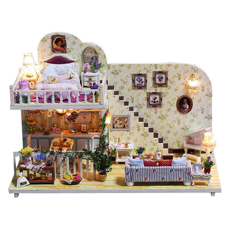 Modelo de simulação De Madeira DIY Casa De Bonecas Móveis Em Miniatura Casa de Boneca Brinquedos para As Crianças Presentes Decorações de Natal Da Vida Da Aldeia