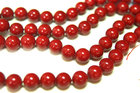 Red Coral smooth round beads 12mm 33 pcs