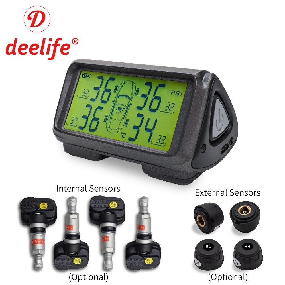 Deelife Auto TPMS Reifen Druck Überwachung System Solar Power Wireless TMPS Auto Sicherheit Alarm Systeme Interne Externe Sensor