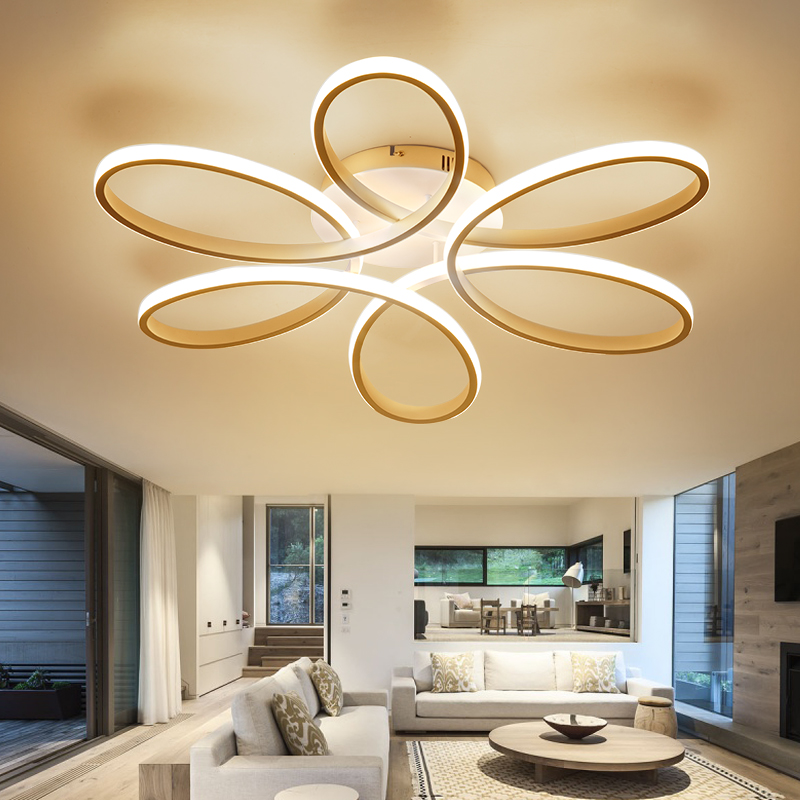 цена на EverFlower Modern Simple Floral Shape LED Semi Flush Mount Ceiling Light With Max 75W Painted Finish