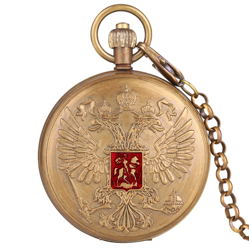 Double-headed Eagle Coat Of Arms Russian National Emblem Badge Pure Copper Tourbillon Mechanical Hand Winding Pocket Watch Chain