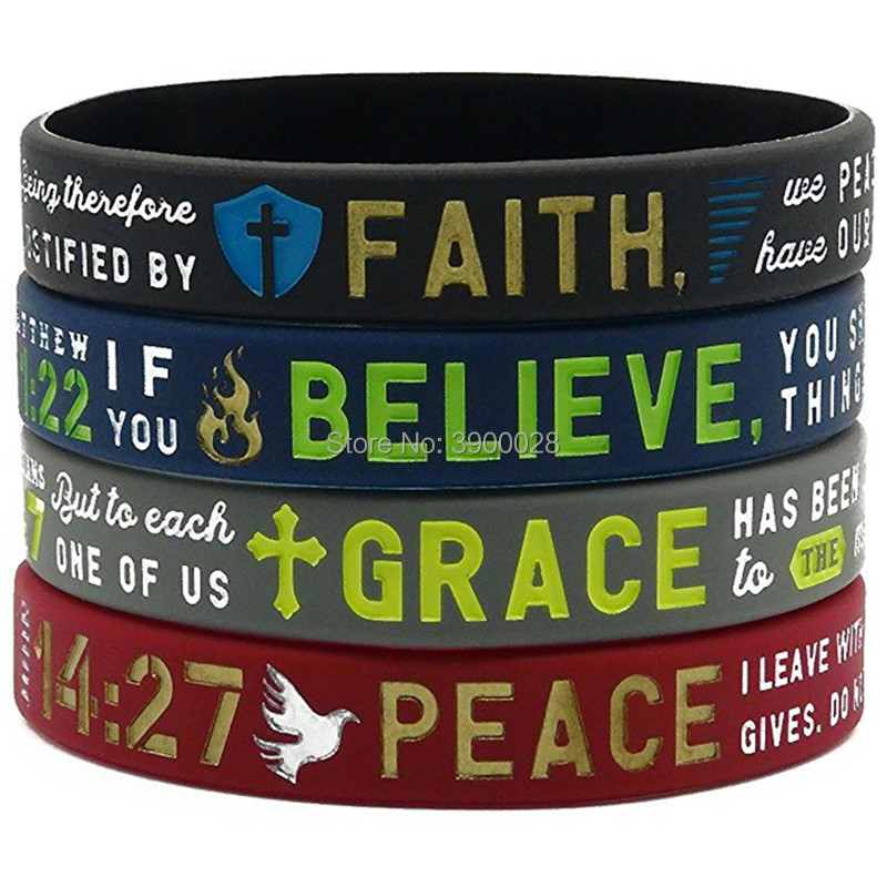 100pc Bible Verse Matthew Ephesians Romans John grace believe faith peace Silicone Bracelet wristband Christian Religious