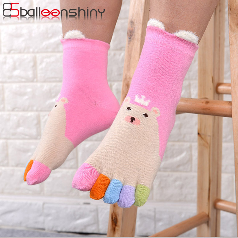 BalleenShiny Five Toes Socks Cotton Warm Colorful Socks Children Kids Cartoon Ears Bear Socks Autumn Winter New Style For 3-12Y