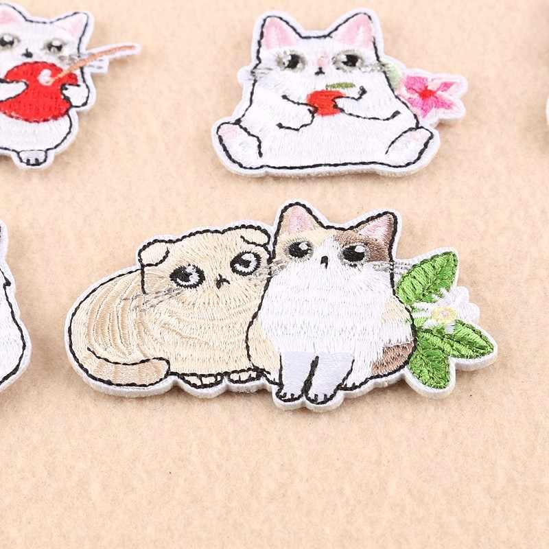 Pulaqi вышитый милый кот, клубника, нашивки, железные на одежду, фрукты, животные, нашивки для детей, мужчин, женщин, футболка, украшение F