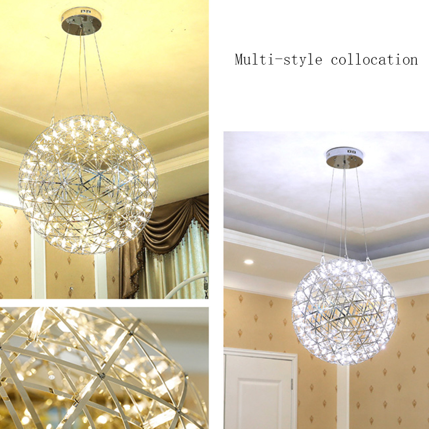 Modern LED Round Hanging Lamp Living Room Clothing Store Spark Ball Lights Luxury Hotel Stainless Steel Luminaire Lighting in Pendant Lights from Lights Lighting
