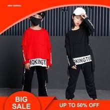 Kids Dance Clothing For Girls Boys Black Red Long Sleeve Oversize Hip Hop T Shirt Pant Two Pieces Children Sport Set недорого