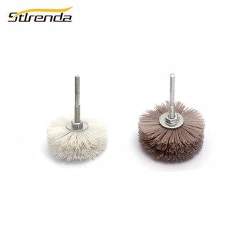 STLRENDA 80mm DuPont Nylon cabeza de pulido rueda de alambre abrasivo cepillo 80/120/180/240/ 320/400/600 Grit para herramientas eléctricas