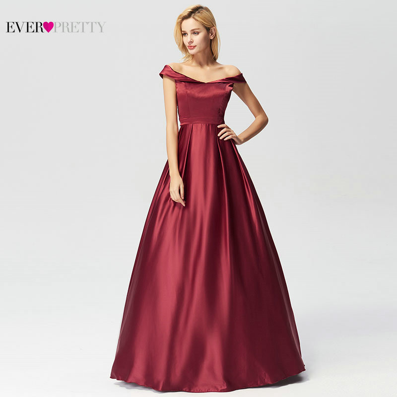 Image 3 - Evening Dresses Long 2019 Ever Pretty Elegant A line Burgundy Off Shoulder Sleeveless New Arrival Special Wedding Occasion Gowns-in Evening Dresses from Weddings & Events
