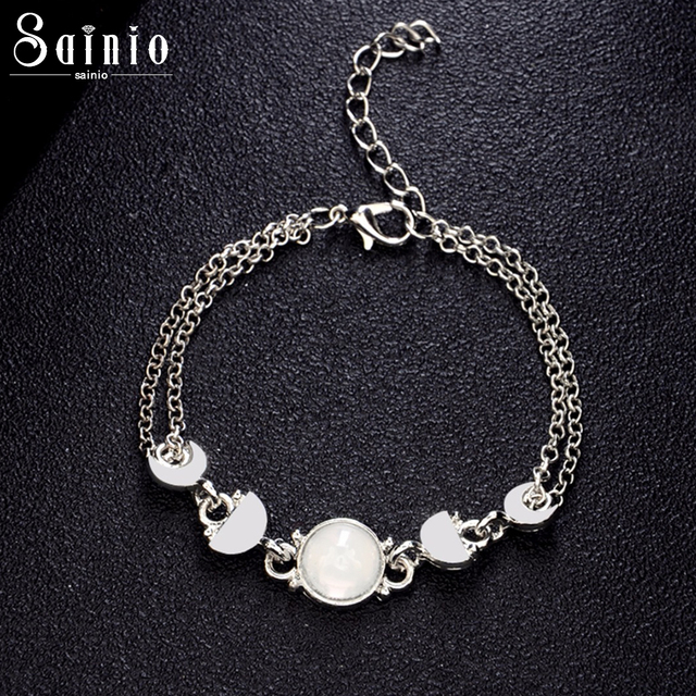 Sainio Womens Lunar Eclipse Moon Phase Chain Bracelet Alloy Sliver Color Bracelets  Women Bohemian Jewelry Gift 7f6b77ac9488