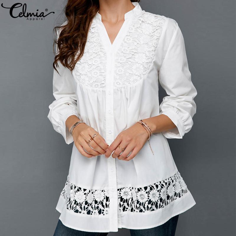 Celmia Women Blouse Lace Splice Long Sleeve Female Clothing Sexy V-neck Hollow Blusas Mujer 2018 Office Shirts Lady OL Tunic Top(China)
