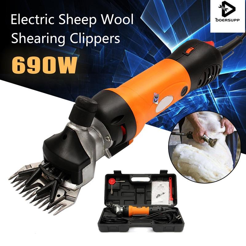 Doersupp AU Plug 690 W 220 V Elétrica Máquinas De Tosquia De Ovelhas Suprimentos Clipper Shears Ovinos Caprinos Alpaca Ajuste Empurrador