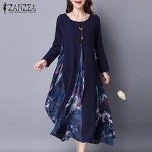 2021 ZANZEA Spring Womens Floral Print Chiffon Splice Elegant Cotton Linen Long Sleeve Kaftan Party  Long Dress Tunic M-5XL
