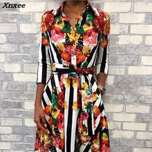 Summer Women Fashion Elegant Workwear Tunic Midi 2018 Casual Dress With Belt Floral Striped Multicolor Print Formal Shirt Dress flamingo print striped box pleated dress with belt