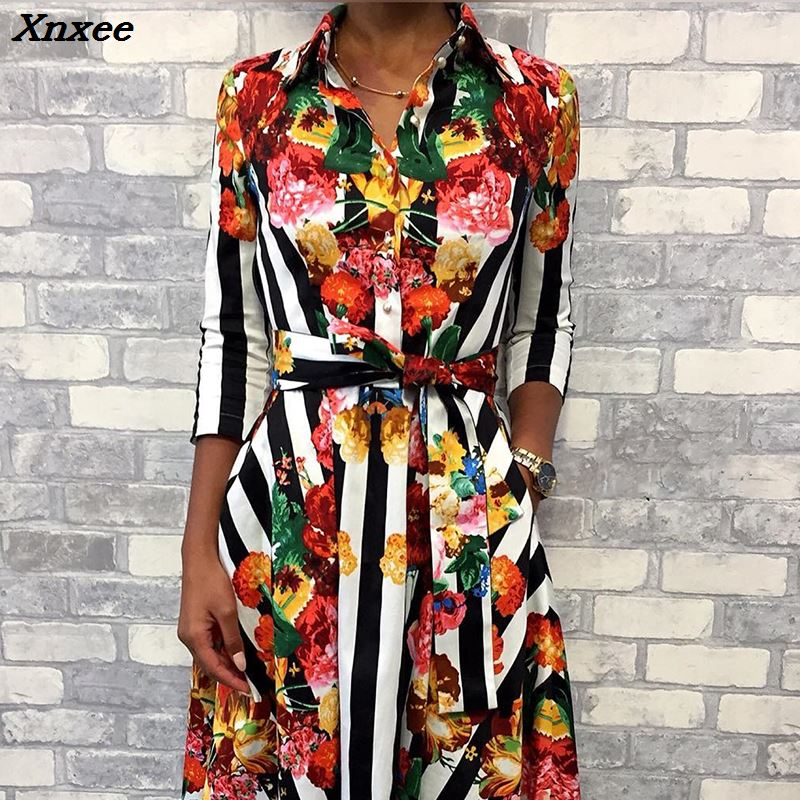 Summer Women Fashion Elegant Workwear Tunic Midi 2018 Casual Dress With Belt Floral Striped Multicolor Print Formal Shirt Dress