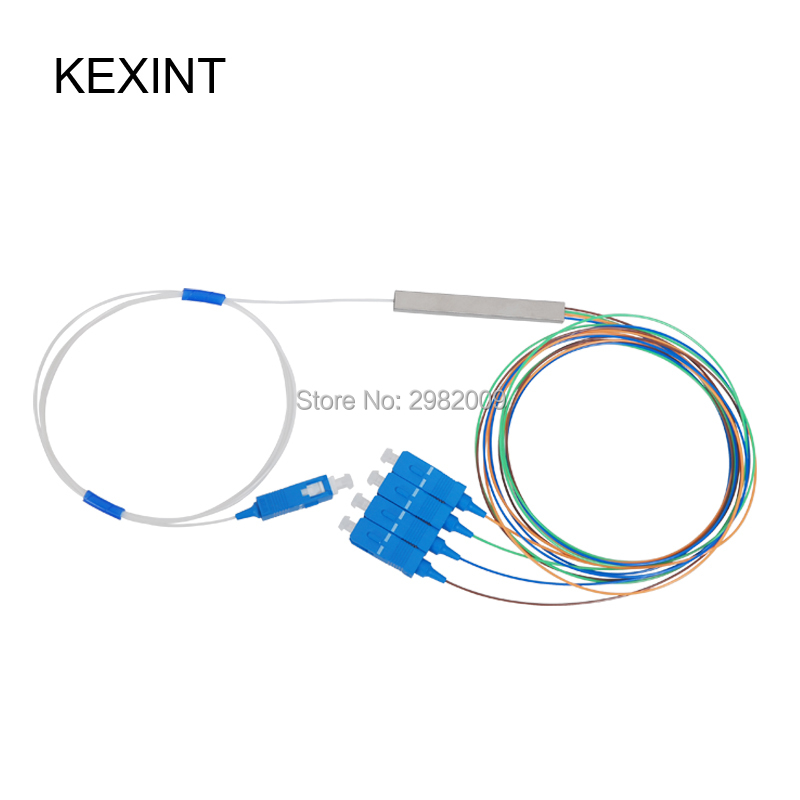 Wholesale Fiber optic PLC Splitter 1*4 mini module  0.9 1m with connector sc/upc / 10pieces