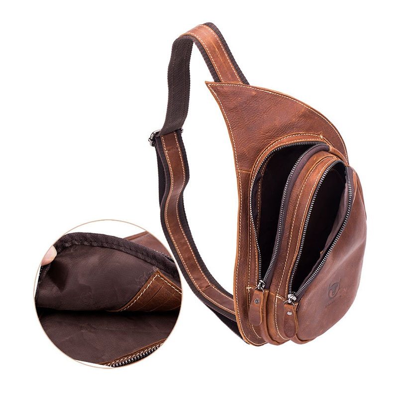 Bullcaptain Leather Crossbody Bag For Men Messenger Genuine Leather Chest Bag Casual Shoulder Strap Pack