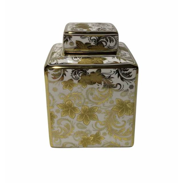 Salient Flower Designed Covered  Jar, White And Gold
