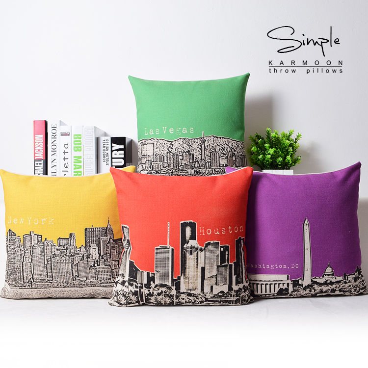 Modern City New York Las Vegas Building Linen Pillow Case Cushion Case 18