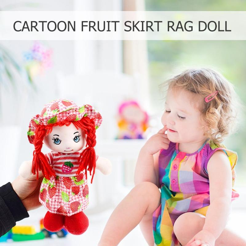Image 3 - 25cm Cartoon Kawaii Fruit Skirt Hat Rag Dolls Soft Cute Cloth Stuffe Toys for Baby Pretend Play Girls Birthday Christmas Gifts-in Dolls from Toys & Hobbies