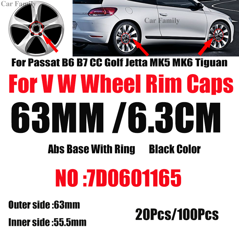 <font><b>Car</b></font> <font><b>Wheel</b></font> Centre <font><b>Center</b></font> Hub Caps Auto Rims Hub caps <font><b>Covers</b></font> 63mm 7D0601165 For Passat B6 B7 CC Golf MK5 MK6 Tiguan 20pcs 100pcs image