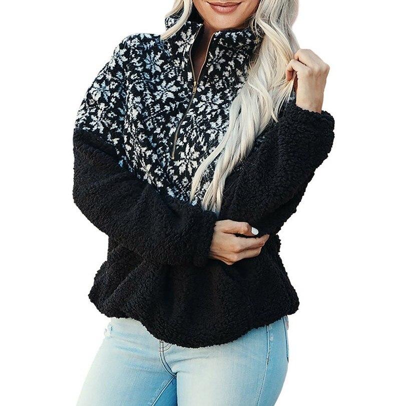 Women Turtleneck Faux Fur Hoodies Patchwork Warm Soft Plush Sweatshirts Zipper Snowflake Print Loose Hoodie Tops