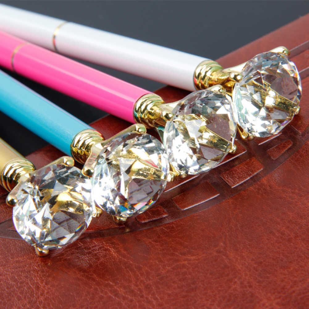 Gran diamante de cristal gema pluma anillo boda Oficina anillo de Metal pluma de bola de plata de oro rosa púrpura azul