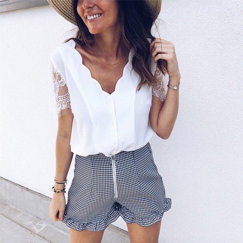 Summer Women Elegant Leisure Lace Blouse Female Stylish Fashion Top V-Neck Solid White Black Casual Shirt