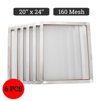 doersupp 6pcs/set 44x54cm Aluminum Silk Screen Printing Press Frame Screens White 160T Mesh Out Size 50x60cm