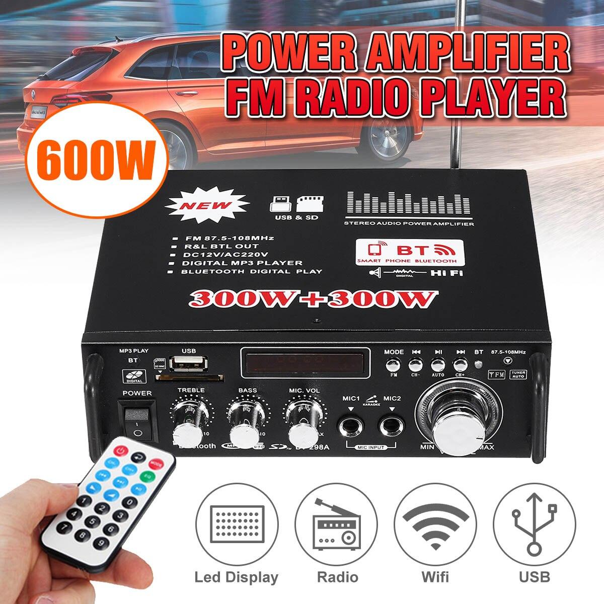 2 in 1 600W HIFI Car Amplifier Audio 12V Stereo Power Amplifier Bluetooth FM Rad