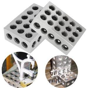 """Image 1 - 2 قطعة/المجموعة صلابة الفولاذ 25 50 75mm كتل 0.0001 """"الدقة المتطابقة الماكنه 123 طحن أداة 23 ثقوب 1 2 3"""" مقياس كتلة"""