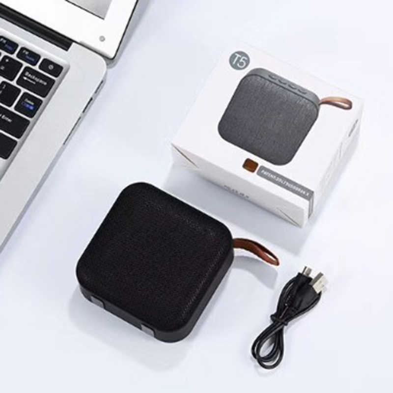 1Pcs New Version T5 Woven Net Bluetooth Speaker Wireless Portable Speaker Lovely Support U-Disk Tf Card Fm Radio Black