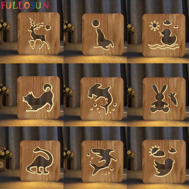 wood lamp led night light reindeer dog rabbit bird animal 3d lamp nordic style decor desk lights for baby gift
