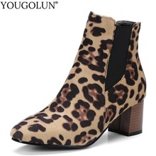 Leopard High Heel Ankle Boots Women Spring Autumn 2019 Lady Square Heels Shoes A222 Fashion Woman Black Round Toe Ankle Boots hot chic woman leather ankle boots spring autumn round toe metal decro side zip black boots high heels woman design runway boots