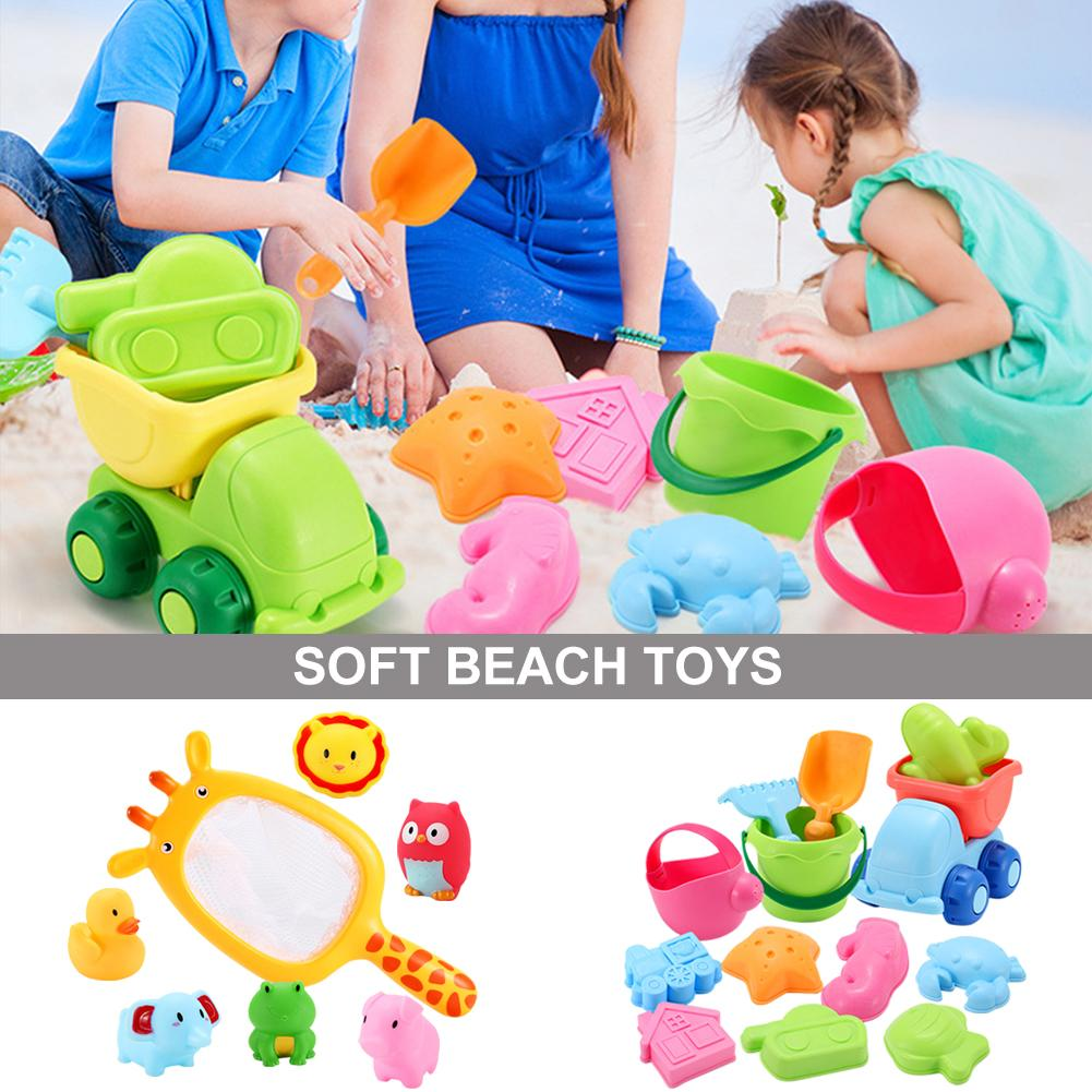 Summer Toddlers Beach Toys Kids Beach Sand Toy Set Play Tools With Dump Truck Duck Bucket