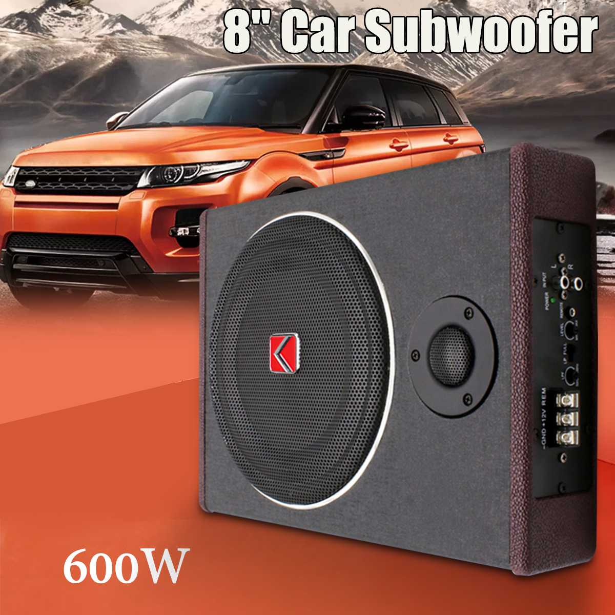 8 Inch 600W Active Under Seat Car Subwoofer Speaker Stereo P