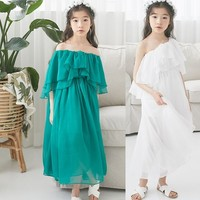 Teenage girl summer dress white green girl dress for party and wedding shoulders holiday beach clothes 2019