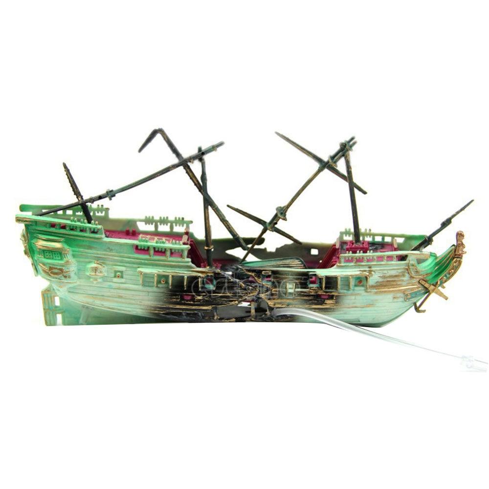 Pirate Ship Aquarium Decoration Boat Shipwreck Fish Tank Decor