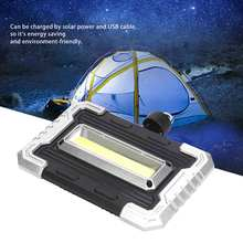 Portable LED COB Solar Camping Lamp Rechargeable USB Charging Light for Emergency Hiking Magnetic Flashlight solar mobile power camping light ultra thin solar charging po 8000 10000 ma led flashlight