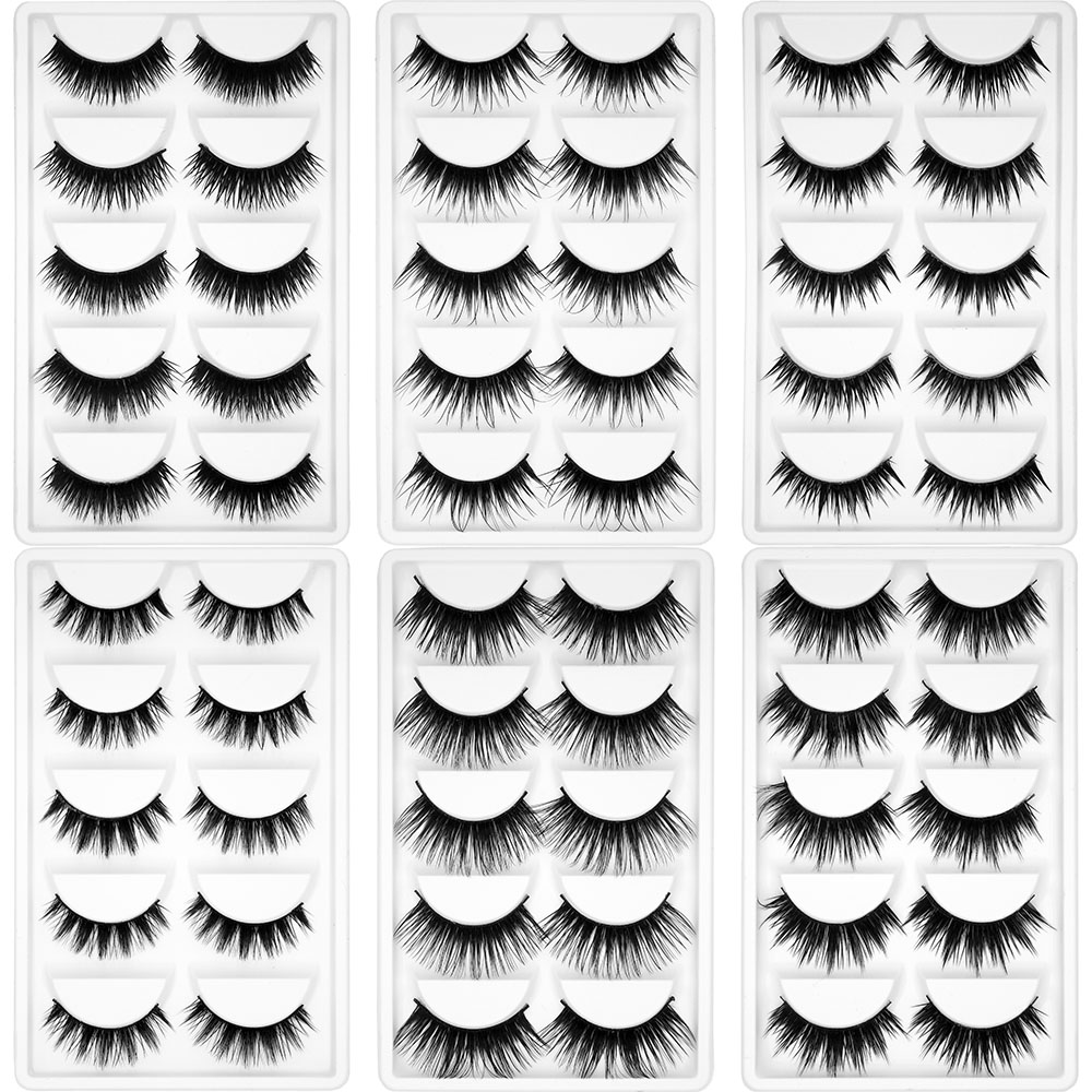 Kimcci 5Pairs False Natural 3D Mink Eyelash Makeup Eyelashes Criss-cross Strands Cruelty Free High Volume Fake Lashes Long Cilia