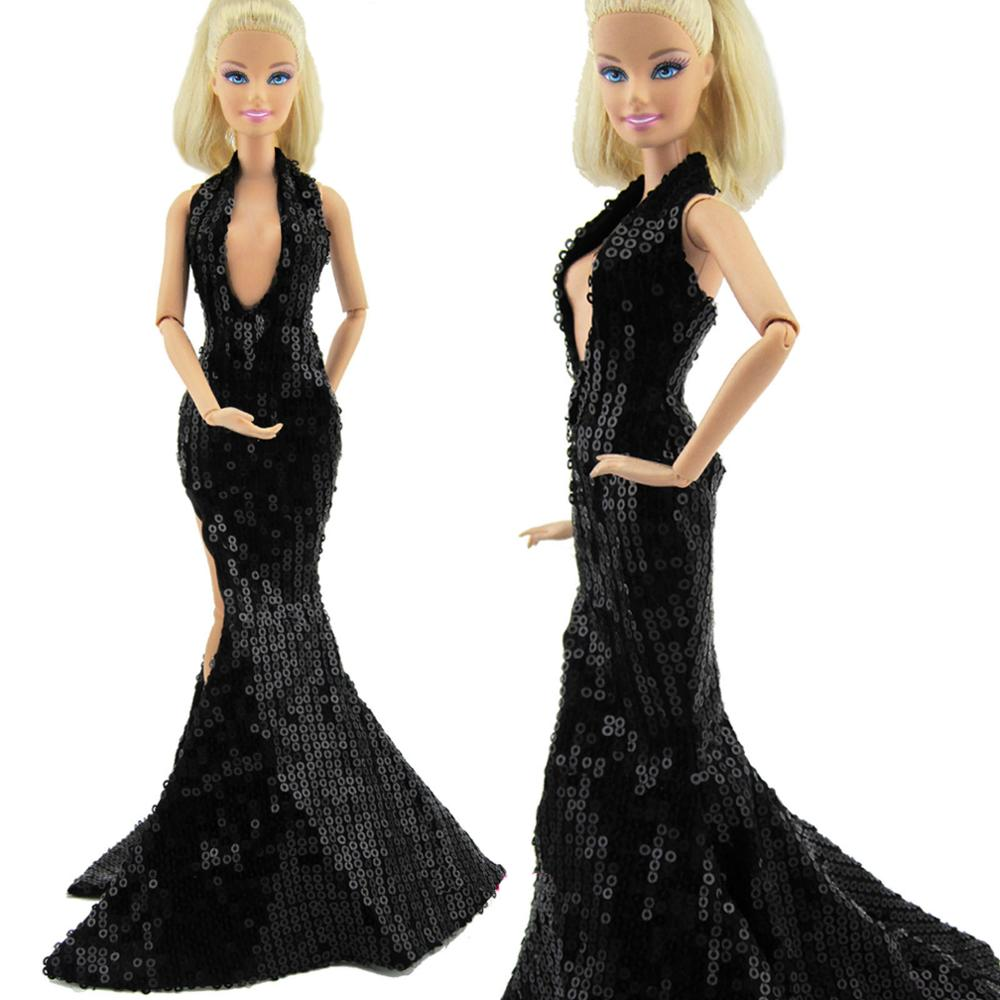 Black Sexy Deep V Halter Dress Copy CRUELLA DE VIL Party Ball Gown with  Sequin Accessories Clothes for Barbie Doll Gift-in Dolls Accessories from  Toys ... 9aaeaa22e53b