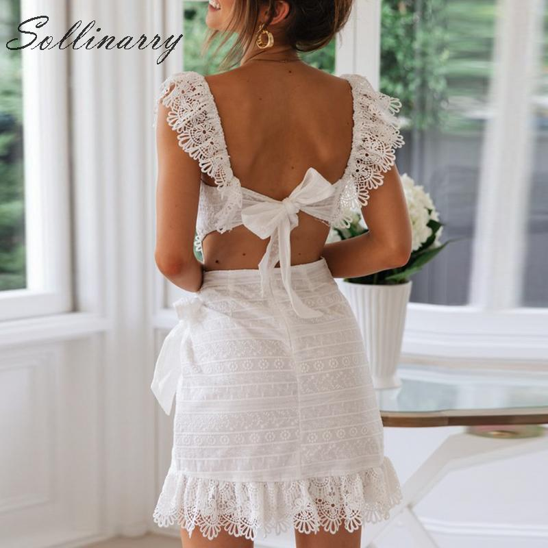 Image 4 - Sollinarry Embroidery Hollow out Lace Summer Dresses 2019 Women Sexy Elegant Wrap Short Dress Backless Party Mini Dress Vestidos-in Dresses from Women's Clothing
