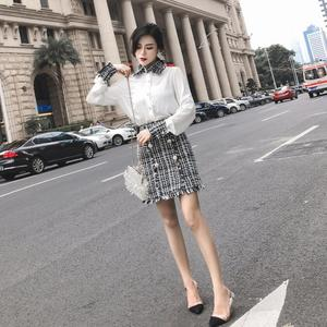 2019 spring Elegant Women 2 Piece Set Tweed Tassels Chiffon Shirt Top Double-breasted Woolen Pencil Skirt Suit ensemble femme
