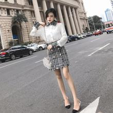 2019 spring Elegant Women 2 Piece Set Tweed Tassels Chiffon Shirt Top Double-bre