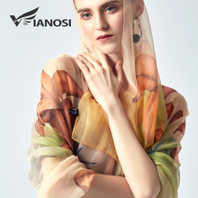 [VIANOSI] Woman scarf silky silk shawl newest designer Women's Scarves large size beach stoles luxury brand bandana
