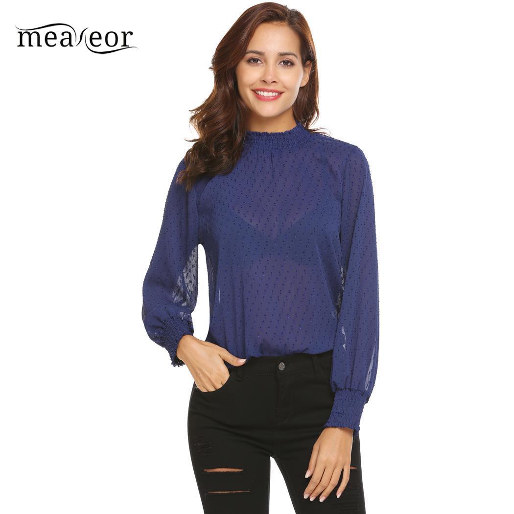 162593ebf627 Meaneor Camisas de mujer Casual Blusa de manga larga otoño blusa Slim ver a  través de malla de mujeres Casual Mujer camisas