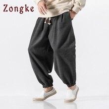 Zongke китайские стильные шаровары одноцветное шерстяное шаровары брюки мужские тренировочные брюки мужские повседневные брюки Для мужчин хип-хоп повседневные штаны Весна