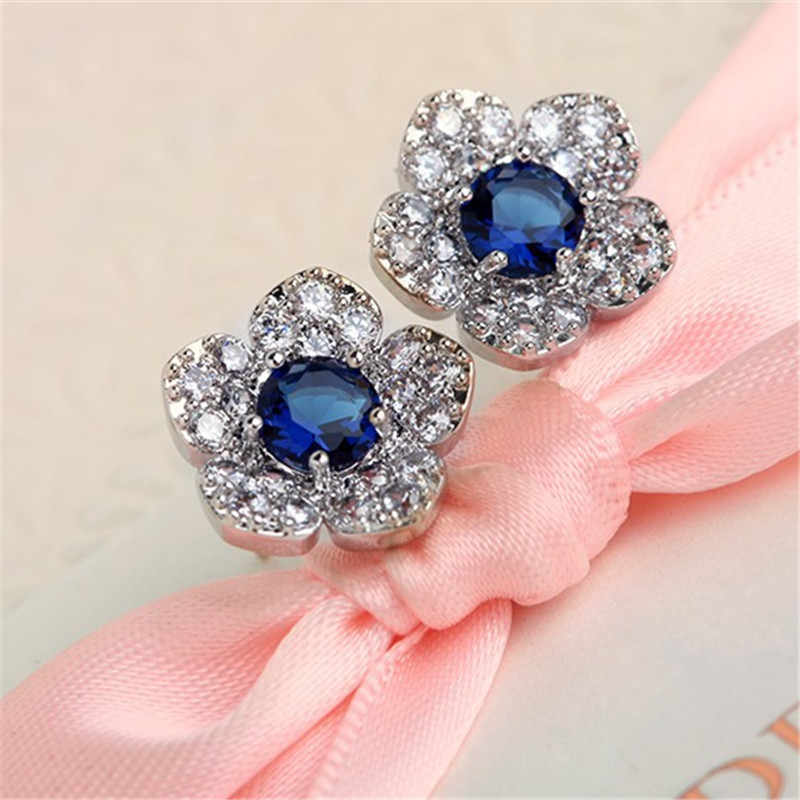 2019 Fashion Sliver Colour Pearl Zirconia Stud Earrings For Women Blue crystal flower For Girls gift