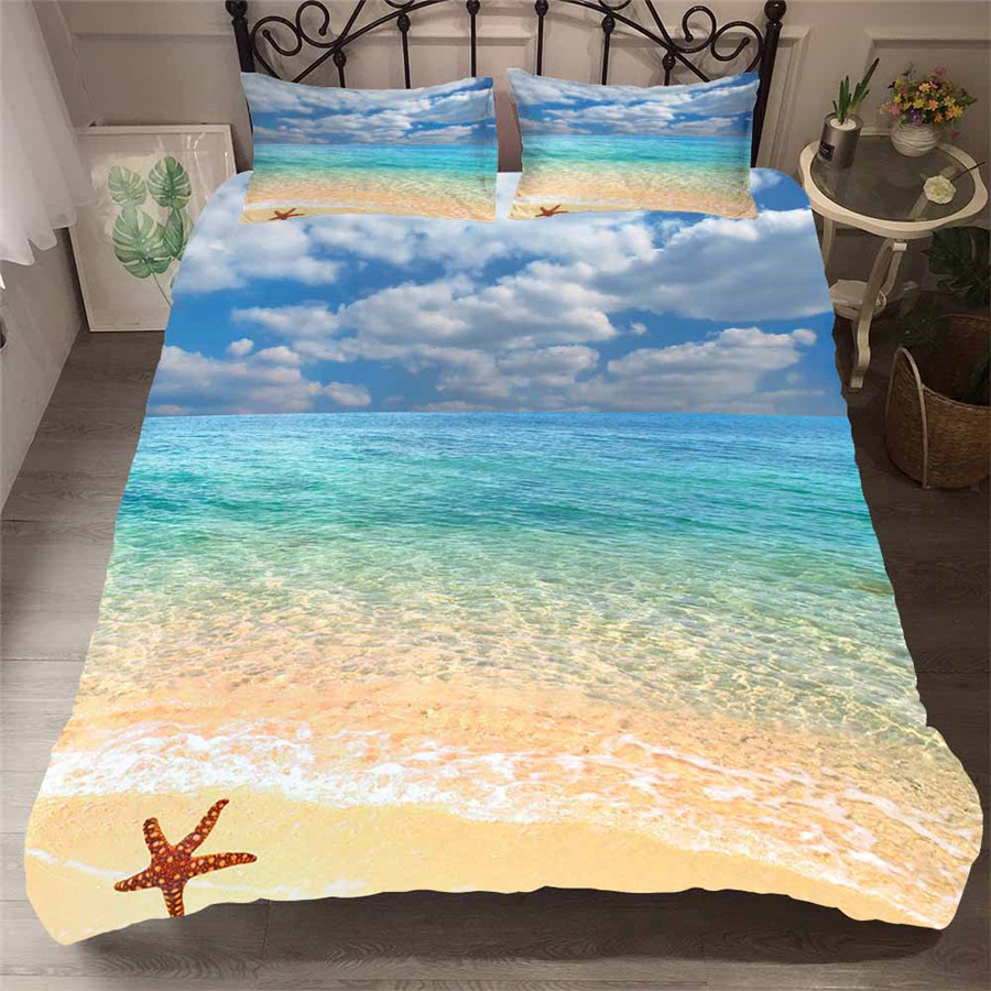 Bedding Set 3D Printed Duvet Cover Bed Set Beach Sea Home Textiles For Adults Bedclothes With Pillowcase HL27