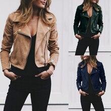 цена на Fashion Women's Zipper Tunic Army Jacket Coats Casual Ladies Autumn Leather Jackets Zip Up Biker Coats Flight Tops Clothes