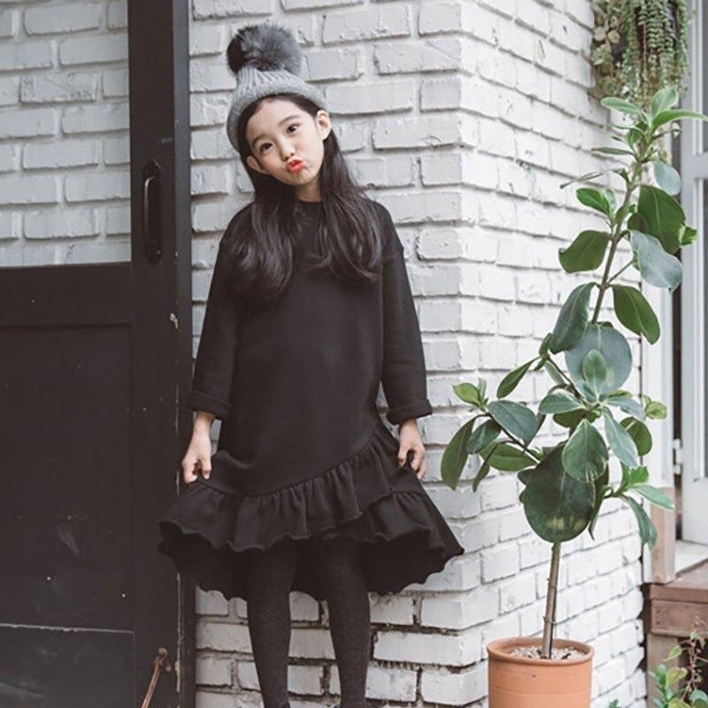 Бархатные рождественские платья русалки с оборками для маленьких девочек; теплое Черное платье для девочек подростков; одежда с длинными рукавами; сезон зима осень